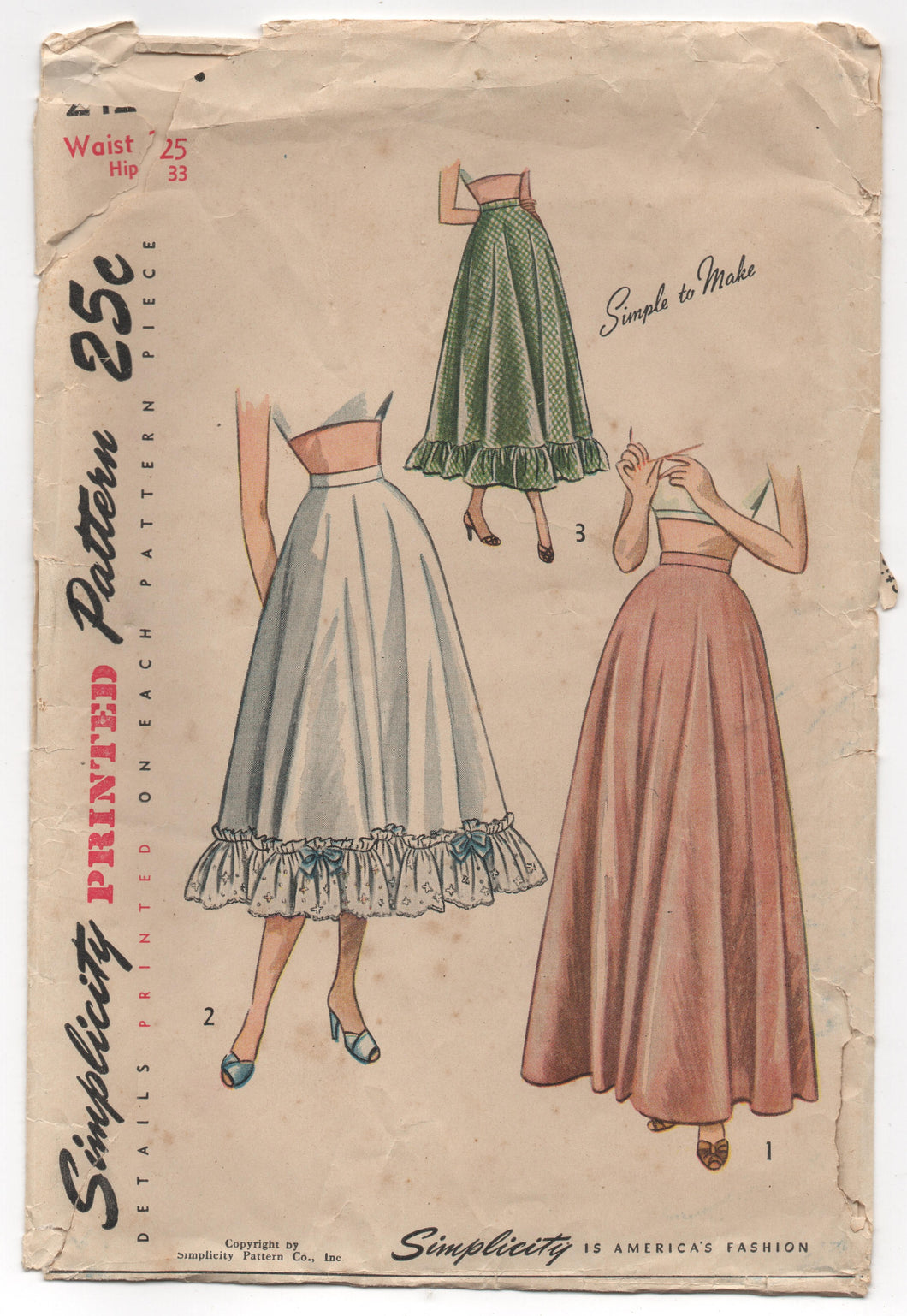 "1940's Simplicity Half Slip in Daytime or Evening style - Waist 25"" - No. 2421"