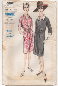 "1960's Vogue ""Easy to Make"" One Piece Dress with two sleeve lengths - Bust 40"" - No. 6089"