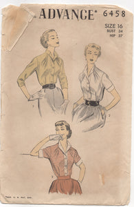 "1950's Advance Tucked Blouse with Two Sleeve lengths - Bust 34"" - No. 6458"