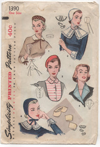 1950's Simplicity Hat, Dickey, Collars and Cuffs Wardrobe - One Size - No. 1390