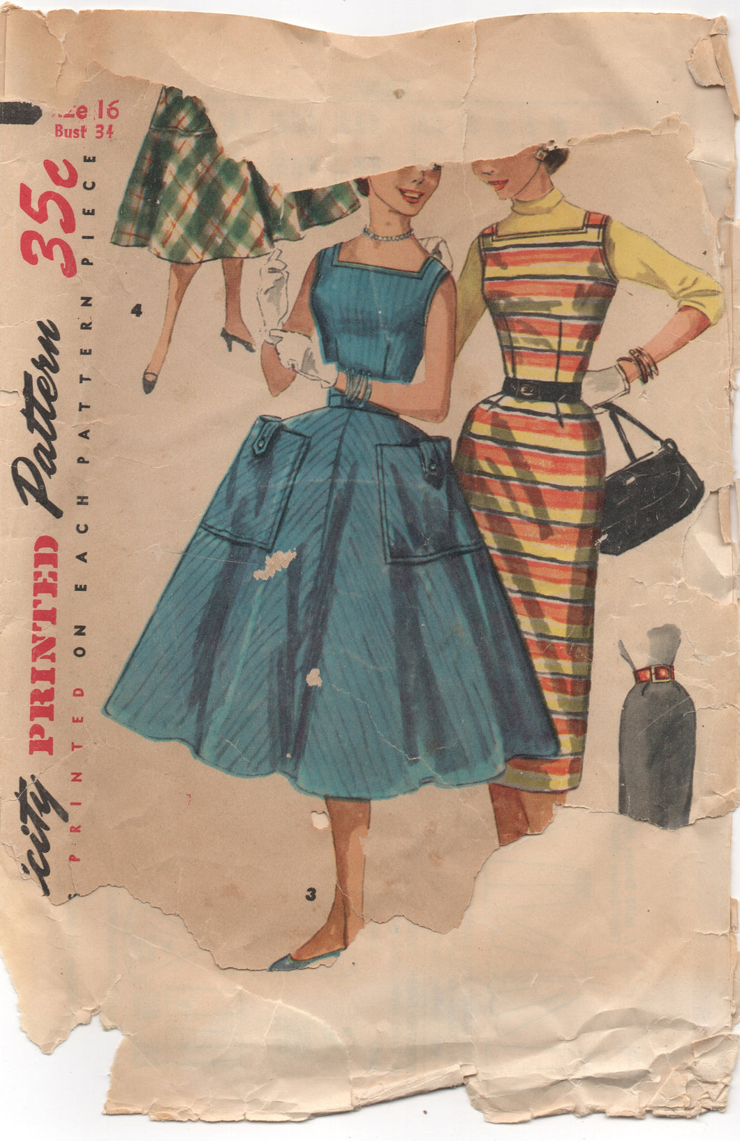 "1950's Simplicity One Piece Dress or Slim or Full Skirt - Bust 34"" - No. 1247"