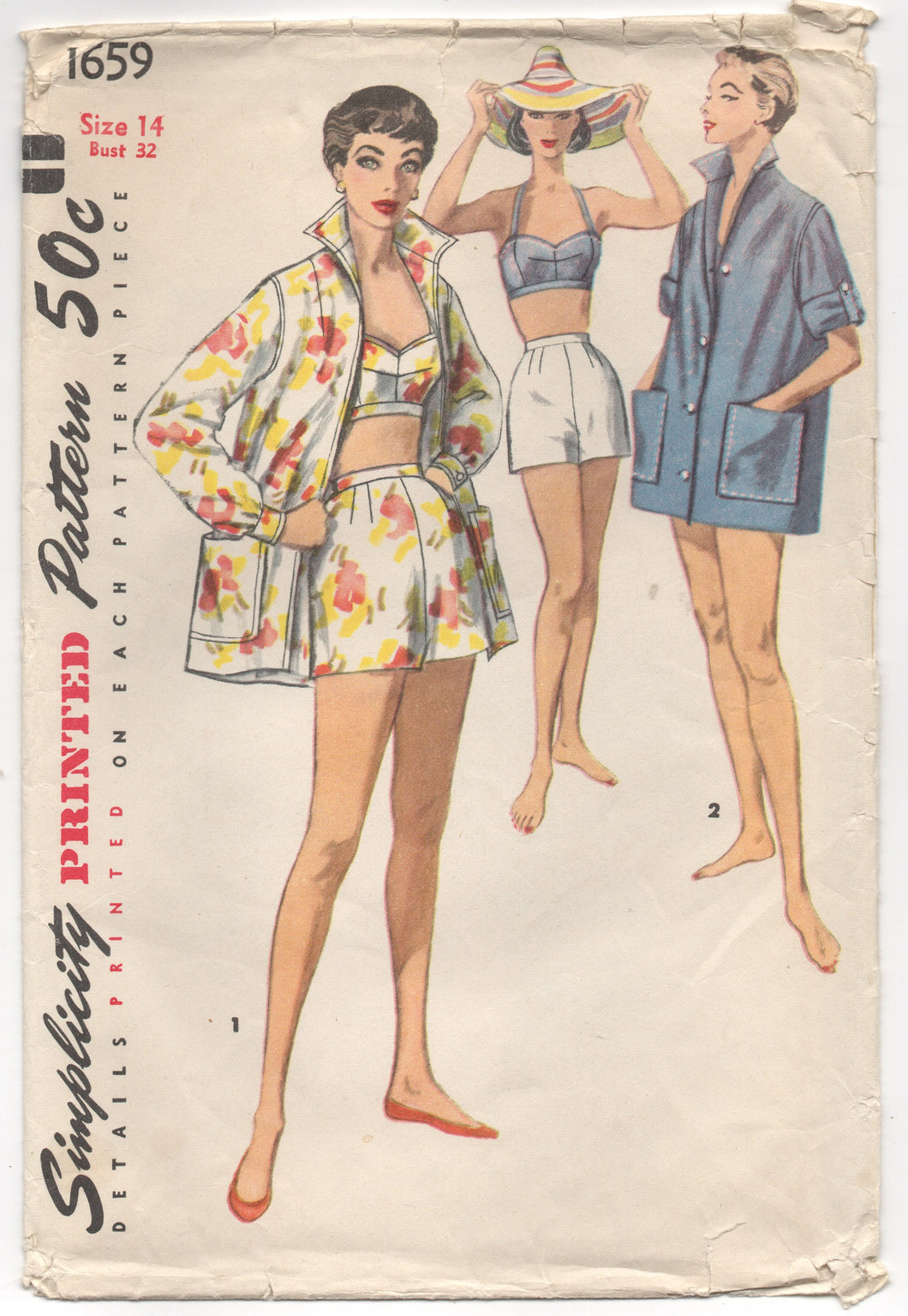 "1950's Simplicity Two-Piece Playsuit and Beach Jacket - Bust 32"" - No. 1659"