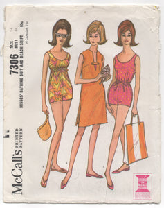 "1960's McCall's One Piece Bathing Suit and Beach Cover Up - Bust 34"" - No. 7306"