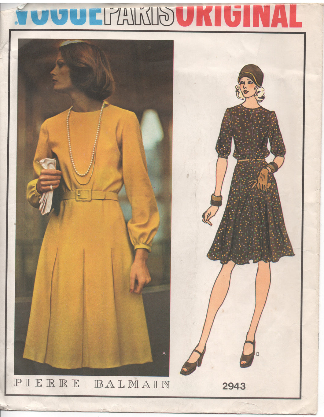 1970's Vogue Paris Original One Piece dress with flared skirt - Pierre Balmain - UC/FF - Bust 36