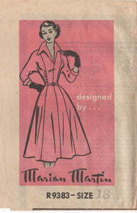 "1950's Marian Martin One Piece Dress with gathered panels and 3/4 sleeve - Bust 36"" - UC/FF - No. R9383"