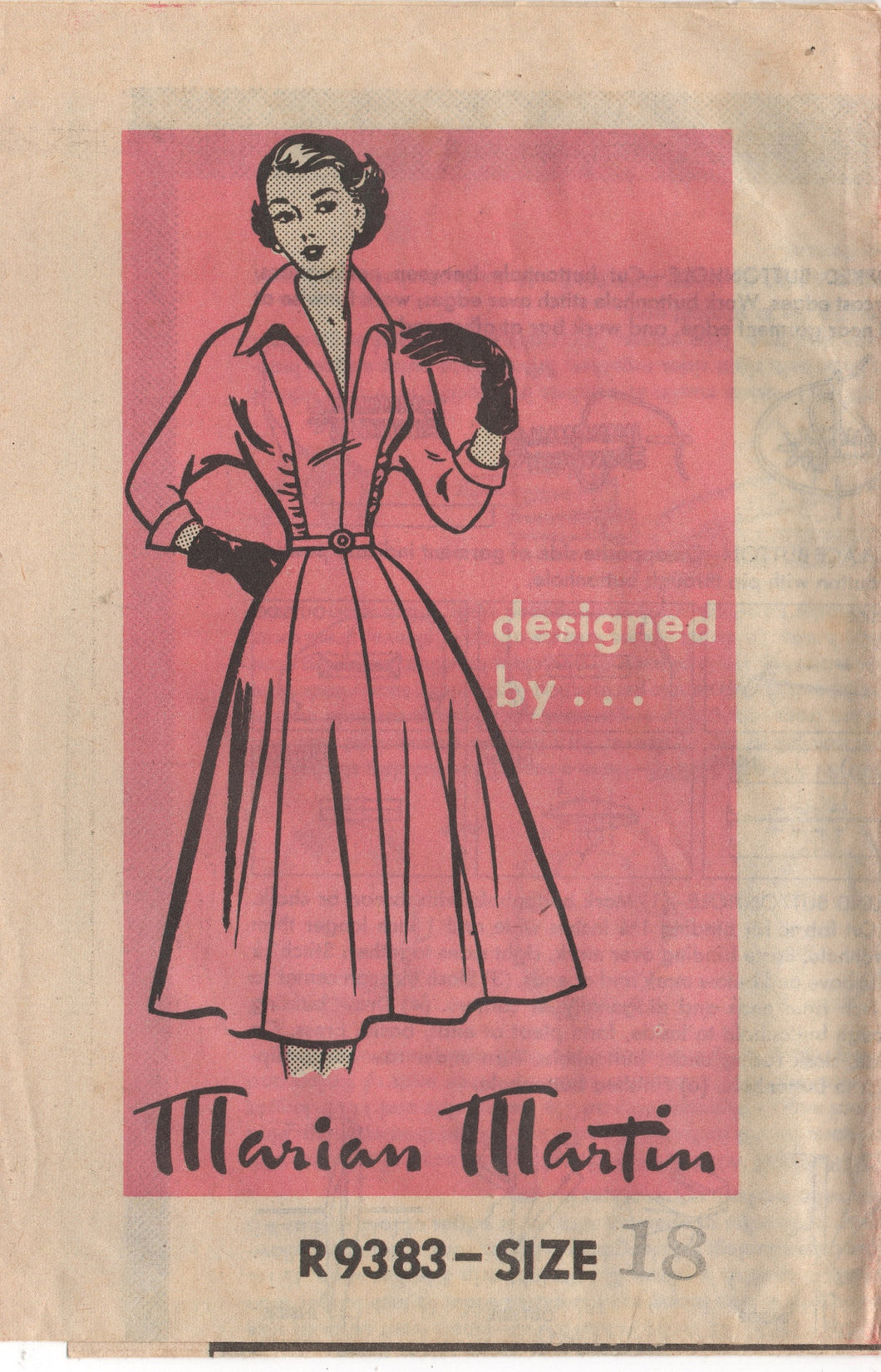 1950's Marian Martin One Piece Dress with gathered panels and 3/4 sleeve - Bust 36
