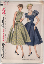 "1950's One Piece Dress with Pussy Bow or Deep Square Collar and Puff Sleeves - Bust 30"" - UC/FF - No. 3845"