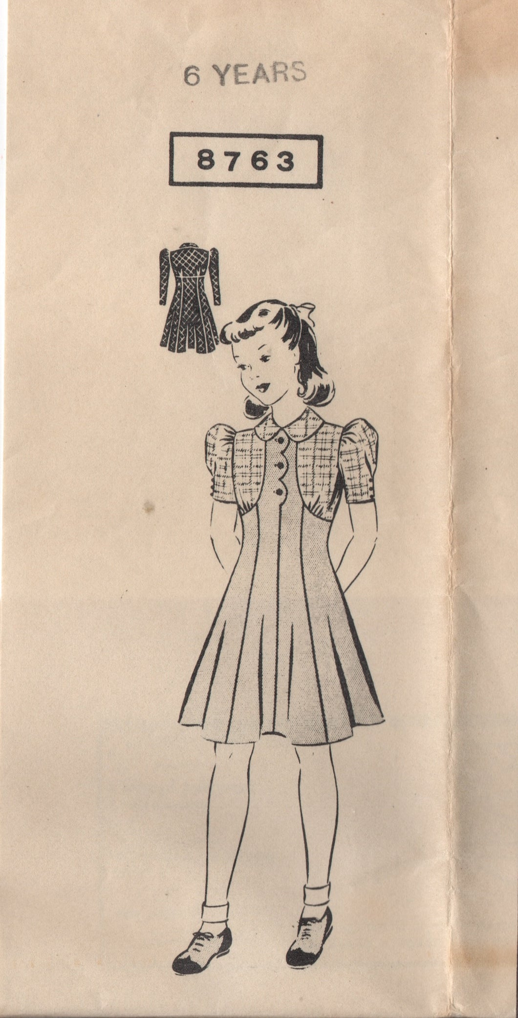 1940's Mail Order Girl's One Piece Contrast Dress with Scallop detail - 6yrs - No. 8763