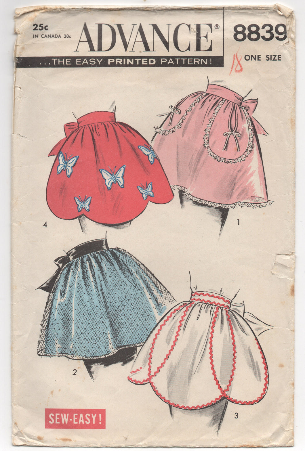 1950's Advance Half Apron with Butterfly Appliques and basket pockets - OS - No. 8839