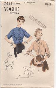 "1950's Vogue High Neckline Blouse with Ascot - Bust 30"" - No. 7629"