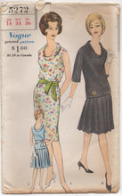 "1960's Vogue One Piece Shift Dress with cowl neckline and optional pleated Skirt - Bust 34"" - No. 5272"