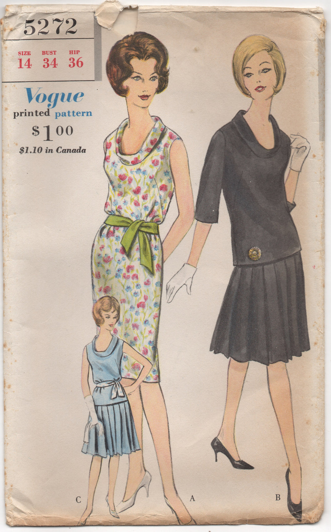 1960's Vogue One Piece Shift Dress with cowl neckline and optional pleated Skirt - Bust 34