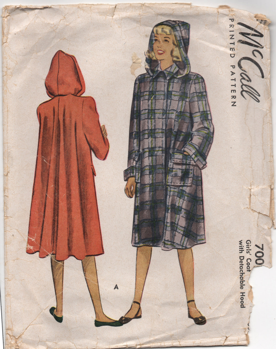 1940's McCall Girl's Coat with Detachable Hood - Breast 26