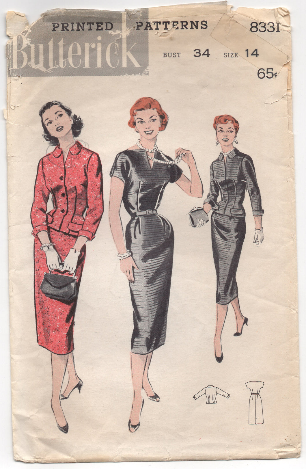 1950's Butterick Sheath Dress with modified V neck and Jacket Pattern - Bust 34