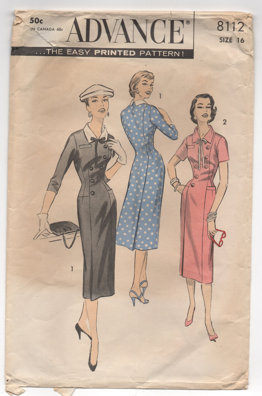 1950's Advance One Piece Fitted Dress with Button Detail - Bust 34