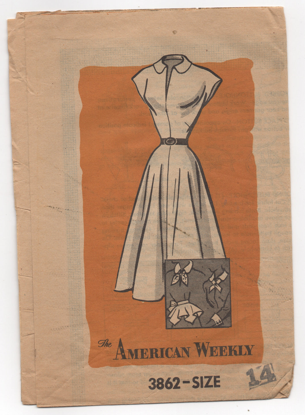 1950's American Weekly One Piece Dress with Sash, Scarf, Tie and Removable Peplum - Bust 32
