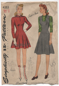 "1940's Simplicity Skating outfit, Princess Dress or Jumper - Bust 32"" - No. 4383"