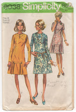 "1960's Simplicity One Piece Mod Dress with Pleated detail - Bust 42"" - No. 9038"