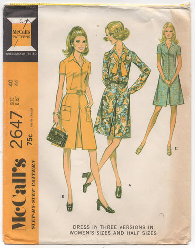 1970's McCall's One Piece Dress with Pockets and Belt Pattern - Bust 44