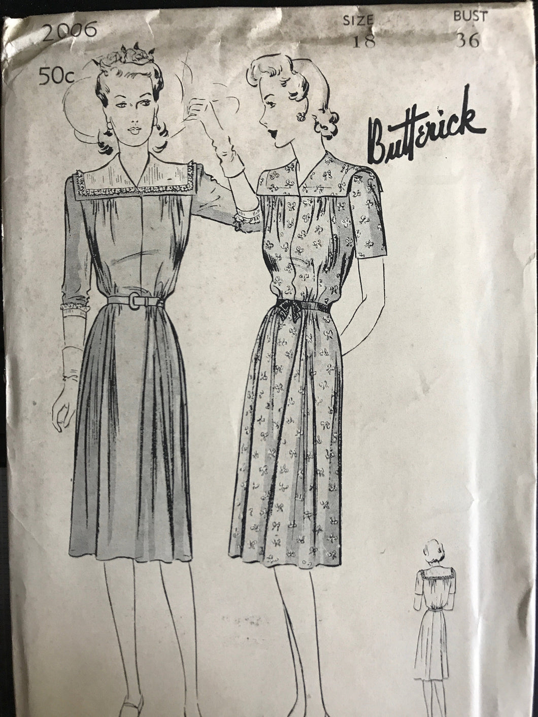 1940's Butterick One Piece Maternity Dress with Square Yoke & Side Gathers - Bust 36