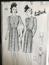 "1940's Butterick One Piece Maternity Dress with Tie Back and Dickey - Bust 36"" - UC/FF - No. 2416"