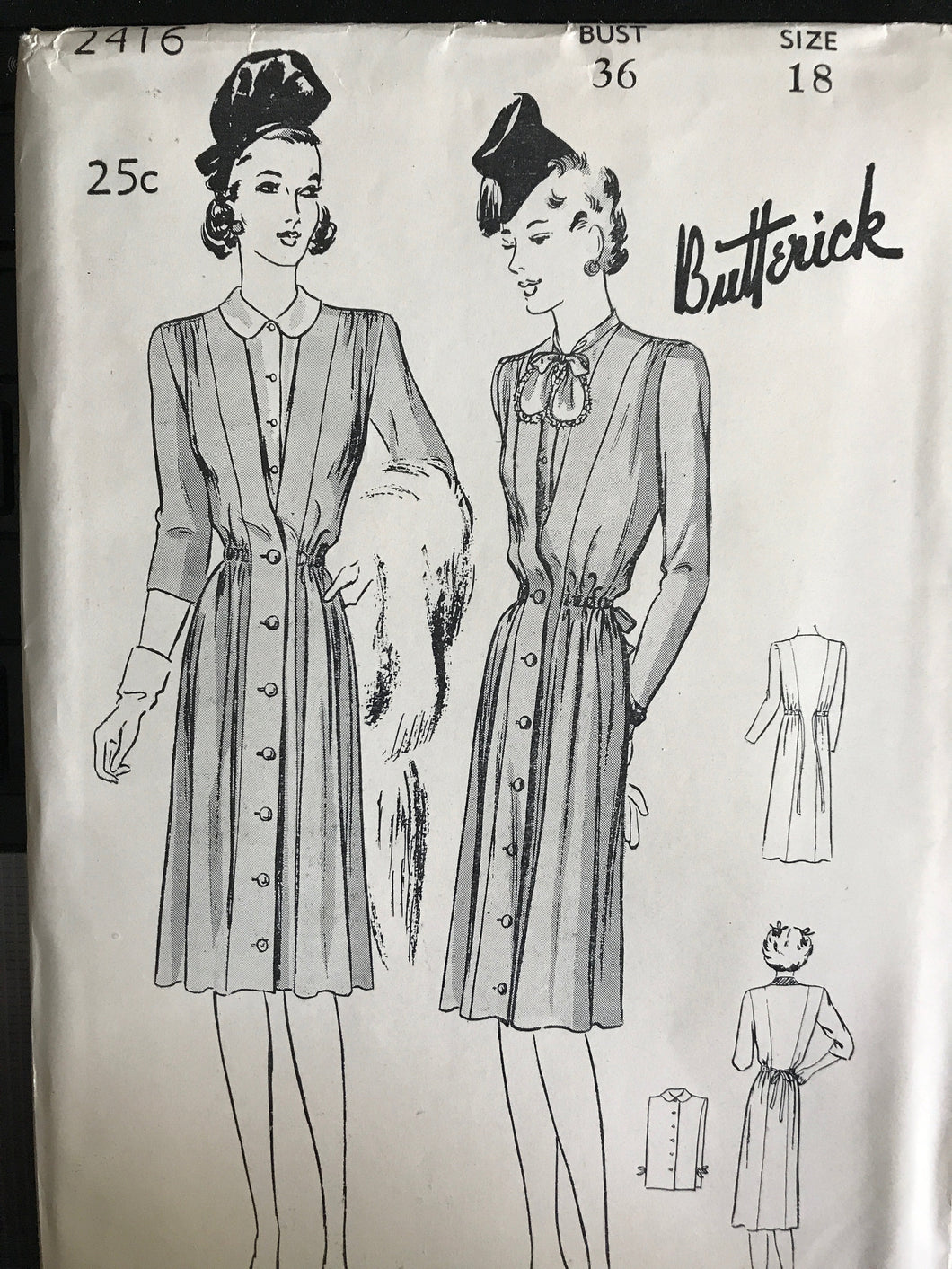 1940's Butterick One Piece Maternity Dress with Tie Back and Dickey - Bust 36