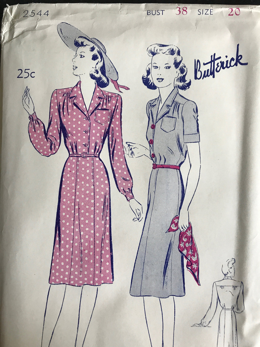1940's Butterick One Piece Shirtwaist Dress with Pocket - Bust 38