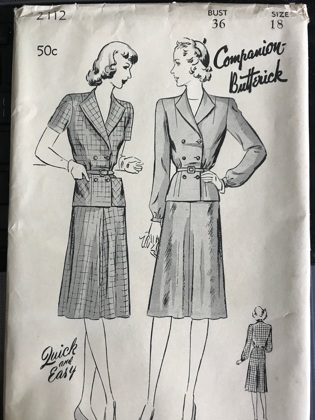 1940's Butterick Two Piece Tailored Suit Dress - Bust 36
