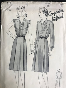"1940's Butterick One Piece dress with Pin Tucks and Two Sleeve lengths - Bust 36"" - UC/FF - No. 2111"