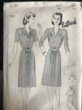 "1940's Butterick One Piece ""Afternoon"" Dress with Triangular Yoke and gathers - Bust 36"" - UC/FF - No. 2126"