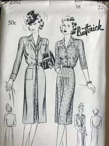 "1940's Butterick One Piece Slim Dress and Redingote Coat - Bust 38"" - UC/FF - No. 2392"