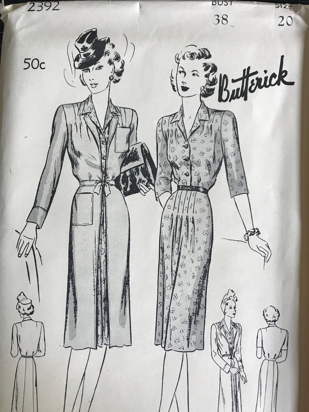 1940's Butterick One Piece Slim Dress and Redingote Coat - Bust 38