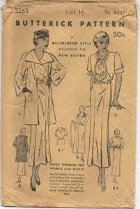 "1930's Butterick Wrap-Around Dress with Detachable Collar, Scarf and Jacket - Bust 34"" - No. 5263"