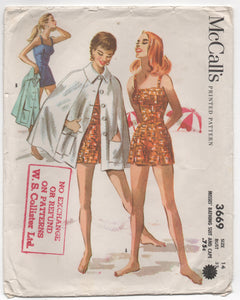 "1950's McCall's One Piece Bathing Suit and Cape - Bust 32"" - UC/FF - No. 3669"