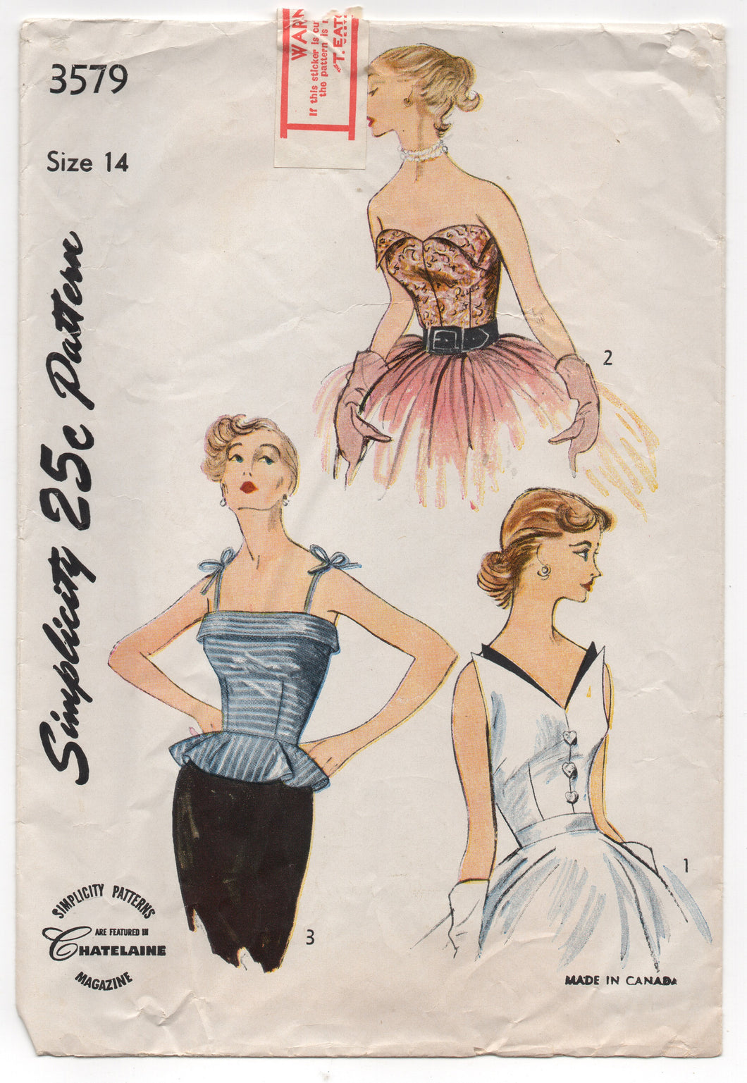 1950's Simplicity Camisole Top (Spaghetti straps, Triangular accents or petal) in 3 styles - Bust 32