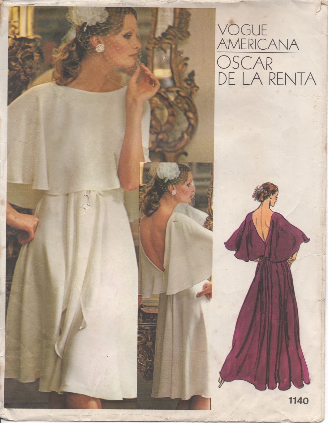 1970's Vogue Americana Oscar de la Renta Evening Gown with Cape sleeves- Bust 36