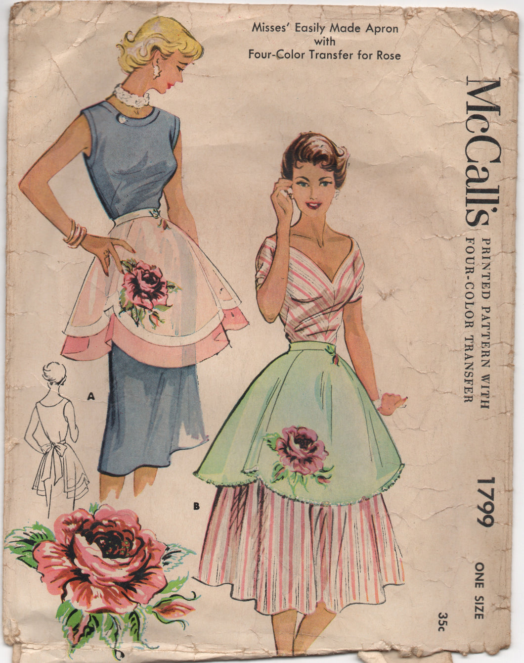 1950's McCall's Half Apron with wide scallop bottom in Two Styles - One Size - No. 1799