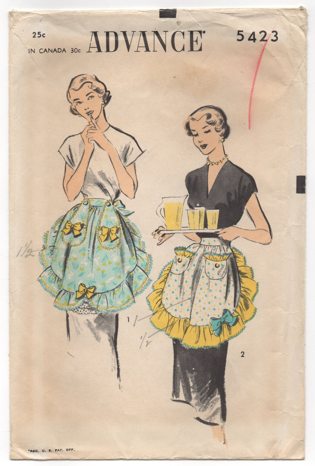 1950's Advance Half Apron with Ruffles and Pockets - One Size - No. 5423