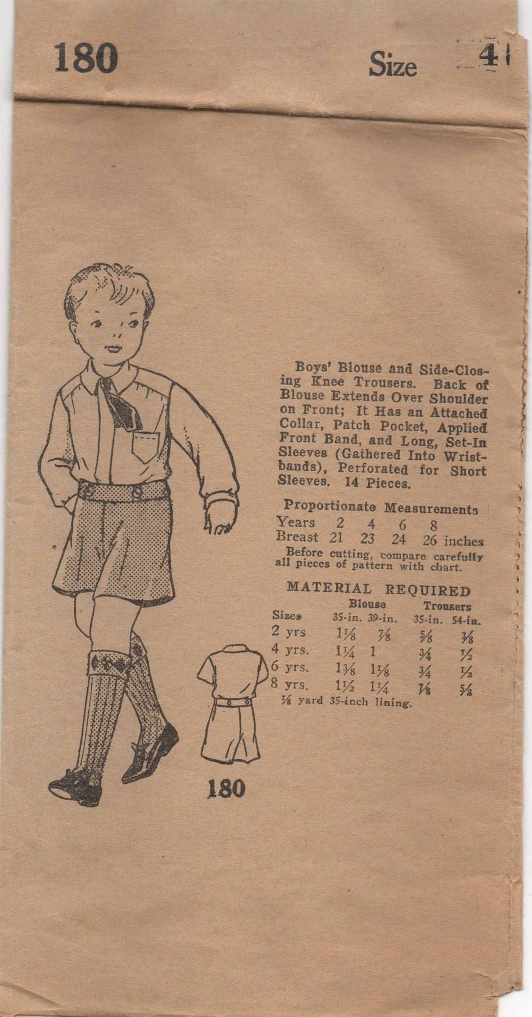 "1930's Mail Order Boy's Long Sleeve Shirt and Shorts Pattern - Breast 23"" - No. 180"