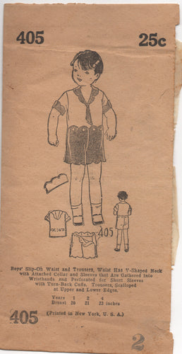 "1920's Mail Order Boys' Shirt, Shorts and Tie with Scallops - Breast 21"" - No. 405"
