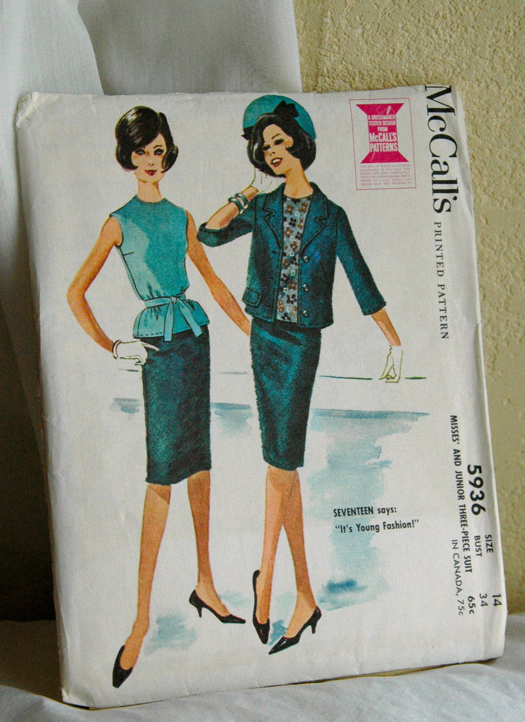 1960's Misses Blouse, Skirt and Jacket Pattern - Bust 34 - UNCUT - no. 5936
