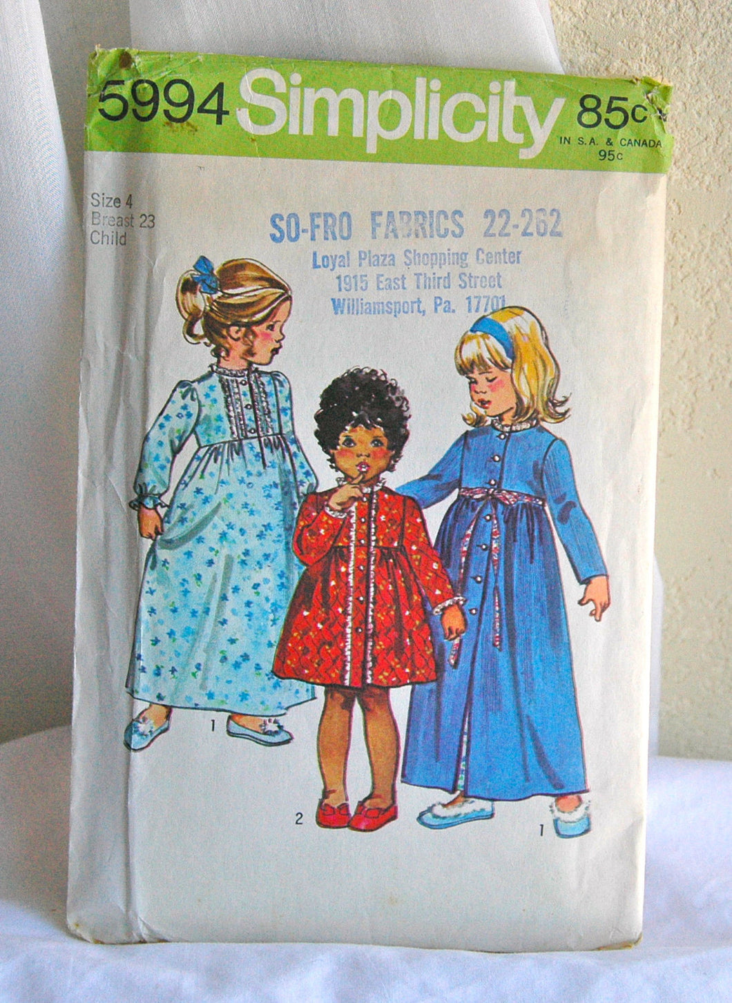 1970's Simplicity Girl's Nightgown and Robe Pattern - Chest 23