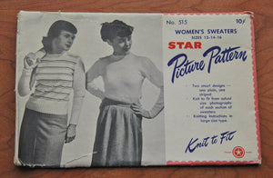 1940's Star Picture Pattern - Sweater - Knitting pattern