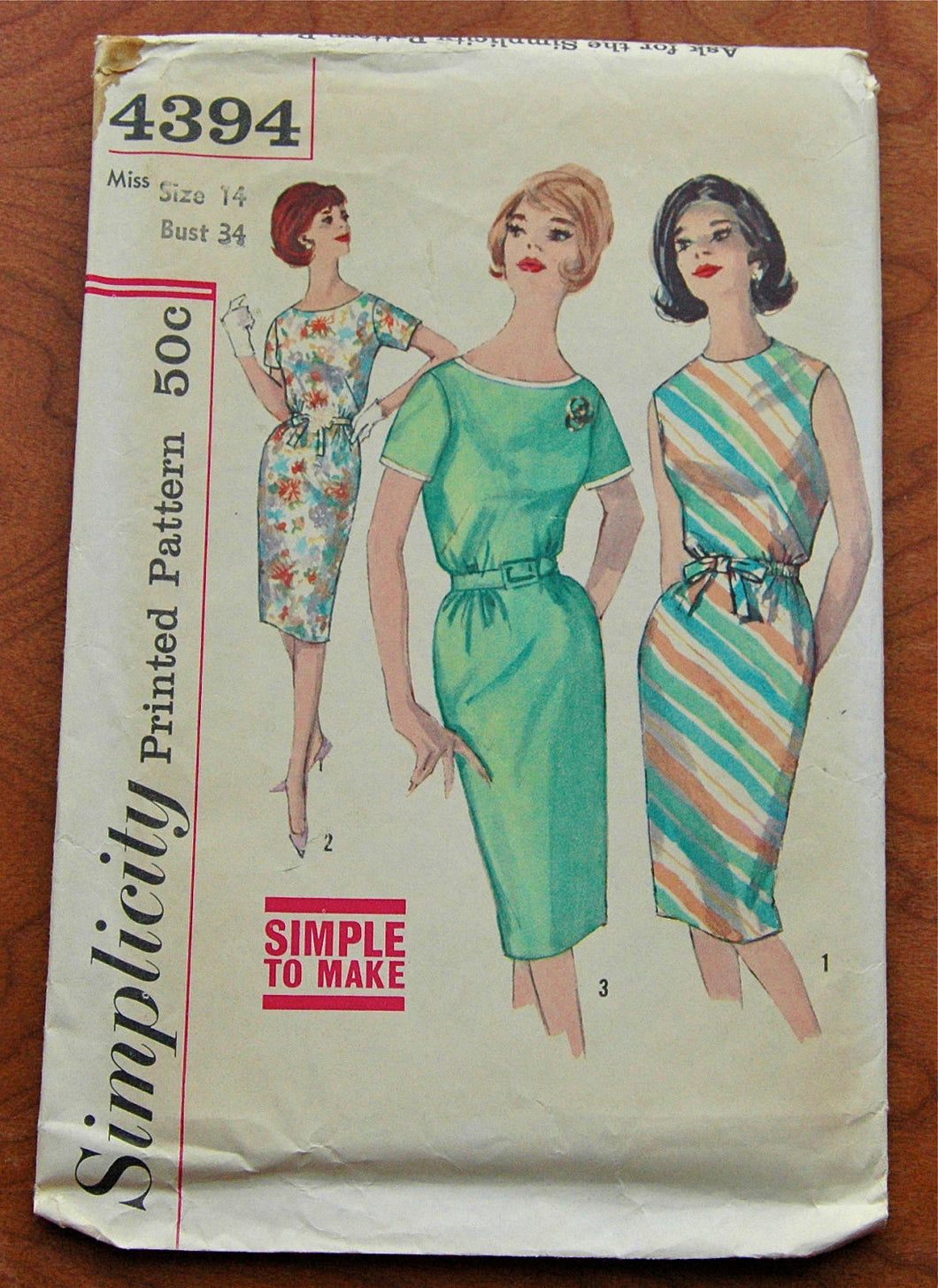 DISCOUNTED** 1960's Simplicity Dress Pattern - Bust 34 - UNCUT - no.4394
