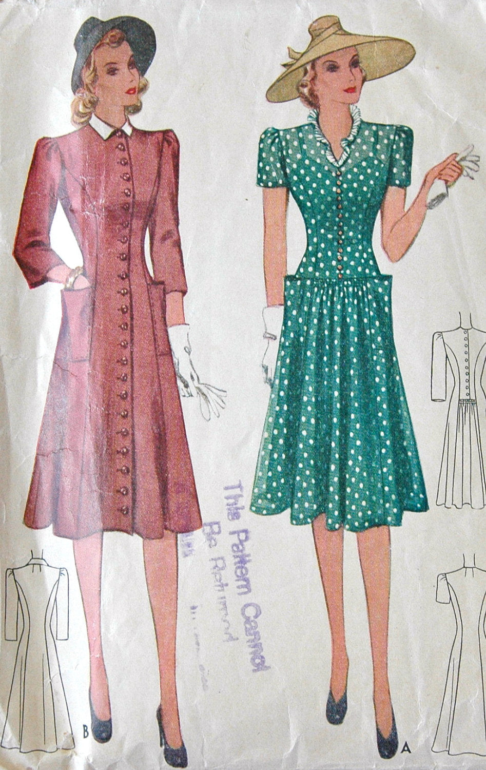 1940's McCall One Piece Button Up Dress with Pockets Pattern - Bust 32