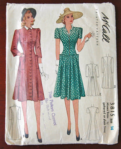 "1940's McCall One Piece Button Up Dress with Pockets Pattern - Bust 32"" - No. 3815"