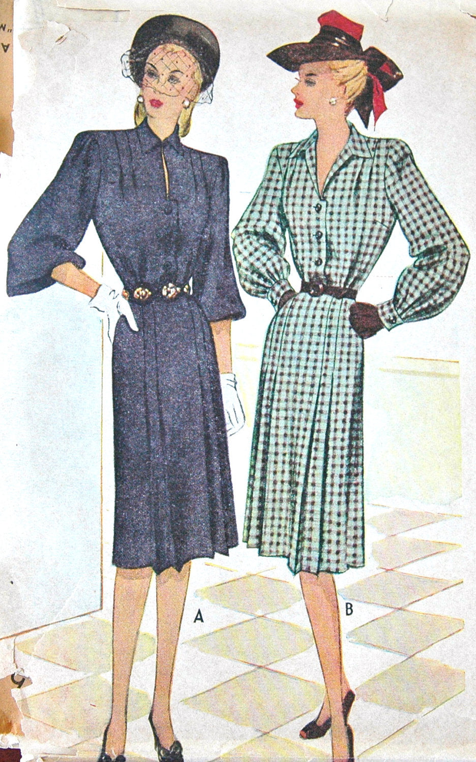 1940's McCall One Piece Shirtwaist Dress Pattern - Bust 30