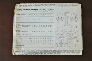 "1940's McCall One Piece Shirtwaist Dress Pattern - Bust 30"" - No. 6676"