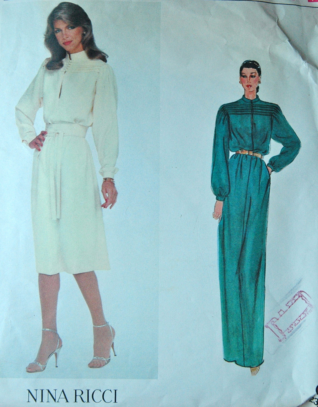1970's Vogue Paris Original Dress and Belt Pattern - Bust 31.5