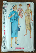 1950's Simplicity One Piece Dress, Collar and Jacket Pattern - Bust 34 - no. 1078